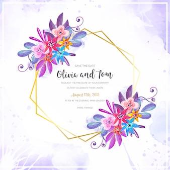 Marco de boda floral acuarela