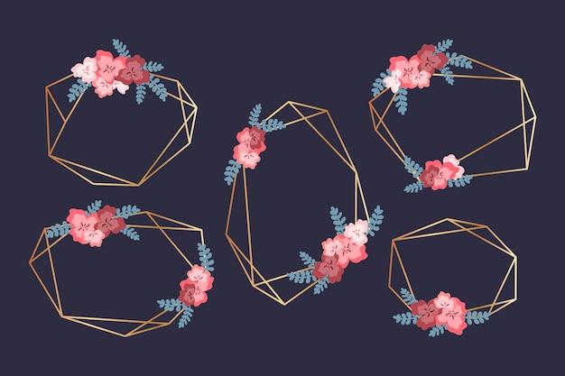 Marco de boda con pequeñas flores y hojas.