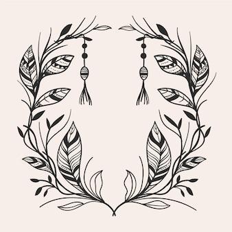 Marco boho dibujado a mano grabado ornamental