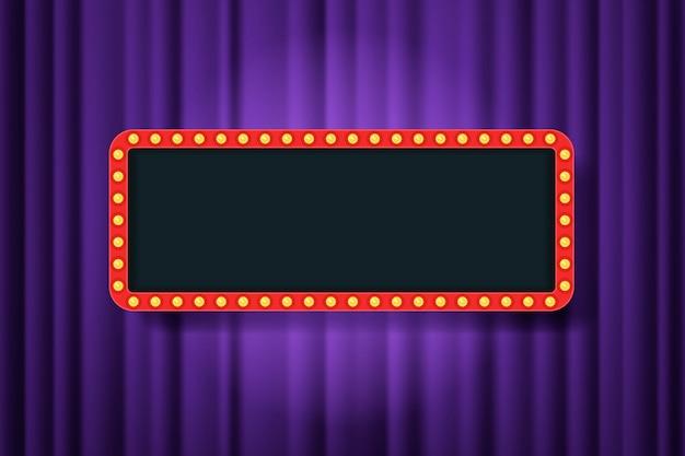 Marco de bombilla con espacio vacío en cortinas de teatro moradas