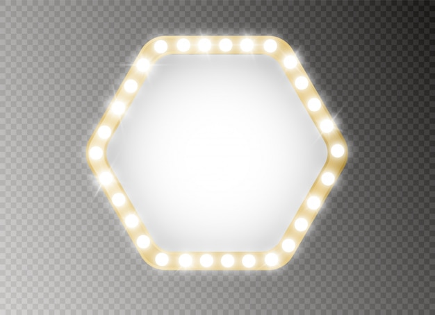 Marco con bombillas. cartelera de luces brillantes para diseño publicitario.