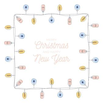 Marco de bombillas de navidad, forma de rectángulo vertical