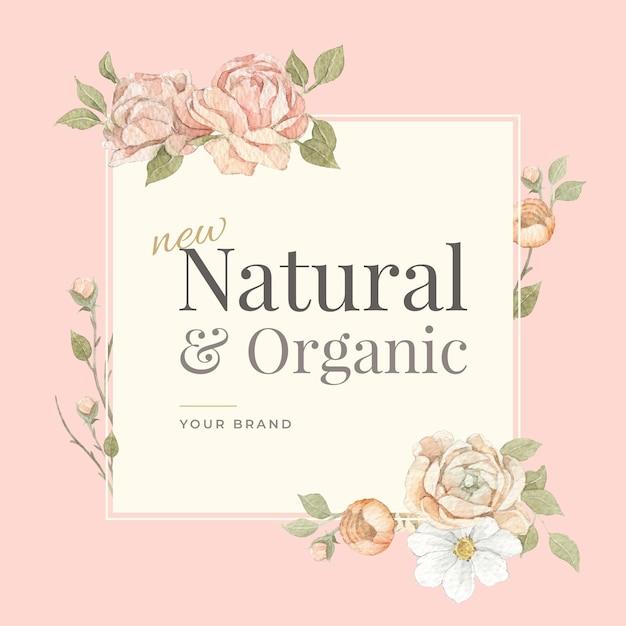 Marco y borde de acuarela de flor rosa para la marca, la identidad corporativa, el empaque y el producto.