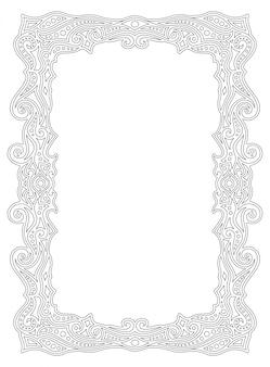 Marco de borde para colorear página con adorno lineal