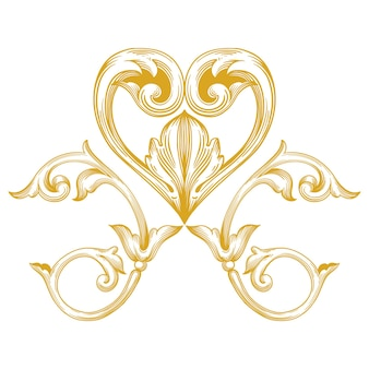 Marco y borde dorado con estilo barroco. elementos de adorno