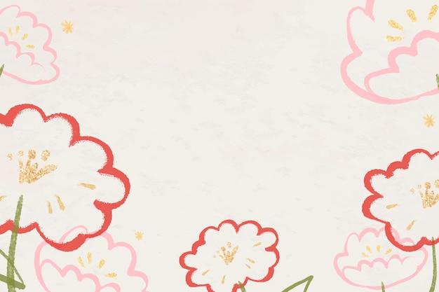 Marco de borde de fondo de flor roja
