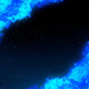 Marco de borde de fuego ardiente azul dramático