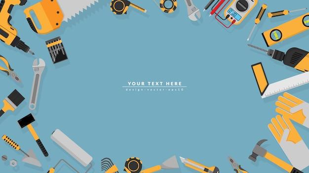 Marco de borde de herramientas amarillas con espacio de copia en blanco