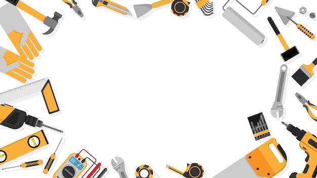 Marco de borde de herramientas de color negro-amarillo establecido como fondo