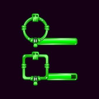 Marco de borde de interfaz de usuario de juego de calavera verde con barra de nivel y progreso
