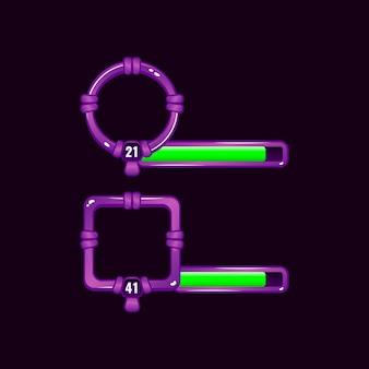 Marco de borde de interfaz de usuario de juego púrpura con barra de nivel y progreso