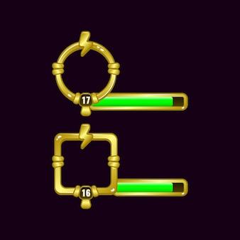 Marco de borde de interfaz de usuario de juego de trueno de energía con barra de nivel y progreso