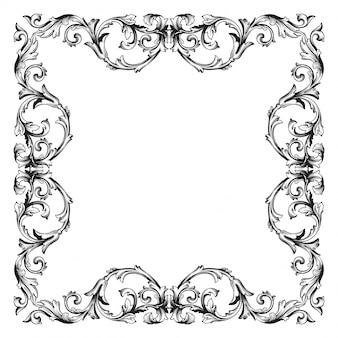 Marco de borde ornamental floral barroco