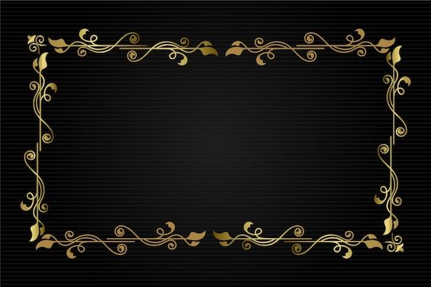 Marco de borde ornamental de naturaleza dorada