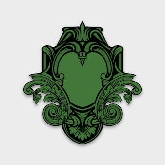 Marco de borde vintage grabado con adorno retro en estilo rococó antiguo