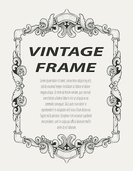 Marco de borde vintage grabado ornamento estilo monocromo