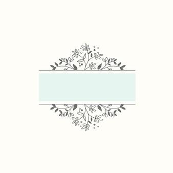 Marco botánico en blanco vector elemento de diseño