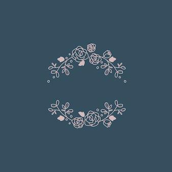 Marco botánico diseño elemento vectorial