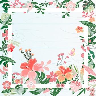 Marco botánico de flores tropicales.