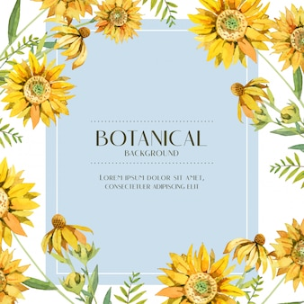 Marco botánico de girasol amarillo acuarela