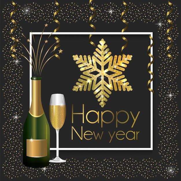 Marco con botella de champagne y copa para año nuevo.