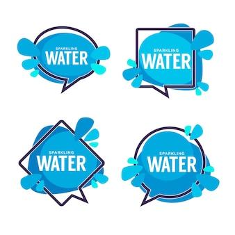 Marco de burbujas de discurso de agua natural con gotas de agua