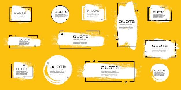 Marco de caja de cotización, conjunto grande. cuadro de cotización. cuadros de cotización de mensajes de texto. fondo de pincel grunge en blanco.