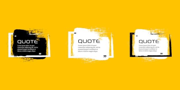 Marco de caja de cotización, conjunto grande. cuadros de cotización de mensajes de texto. ilustración de pincel grunge en blanco