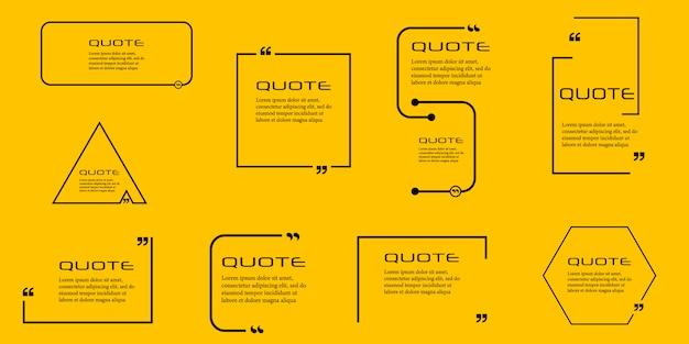 Marco de caja de cotización, conjunto grande. cuadros de cotización de mensajes de texto.