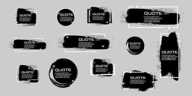 Marco de caja de cotización, conjunto grande. icono de cuadro de cotización. cuadros de cotización de mensajes de texto. fondo de pincel grunge en blanco.