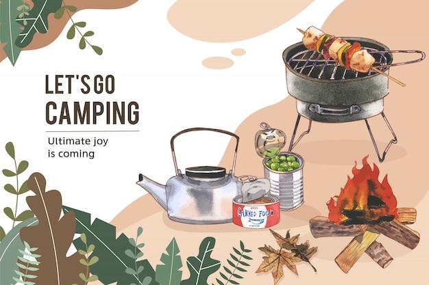 Marco de camping con hervidor de agua, comida enlatada e ilustraciones de fogatas.