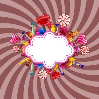 Marco candy sweet shop con diferentes colores de caramelos, caramelos, caramelos, caramelos de chocolate, caramelos de goma