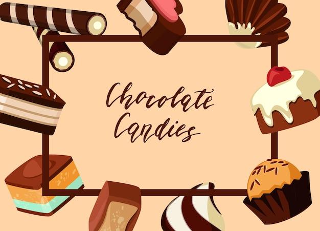 Marco con caramelos de chocolate de dibujos animados a su alrededor con lugar para el texto en el centro