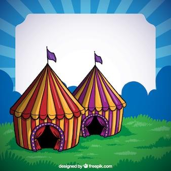 Marco de carpas de circo dibujado a mano
