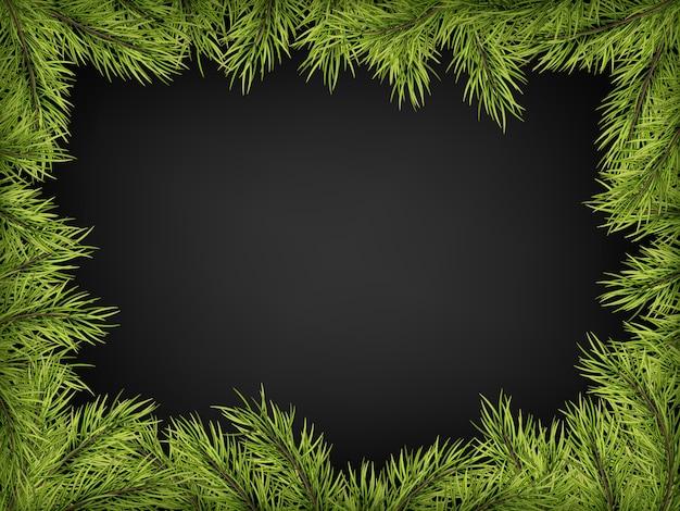 Marco de cartel de invitación de lujo de pino, abeto, ramas de abeto para una fiesta de navidad sobre fondo negro.