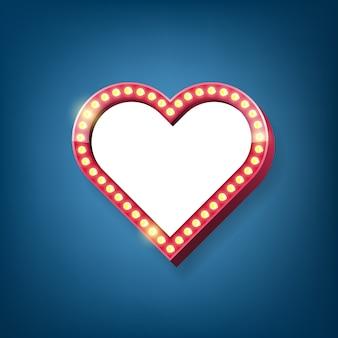 Marco de carteles de bombillas de corazón