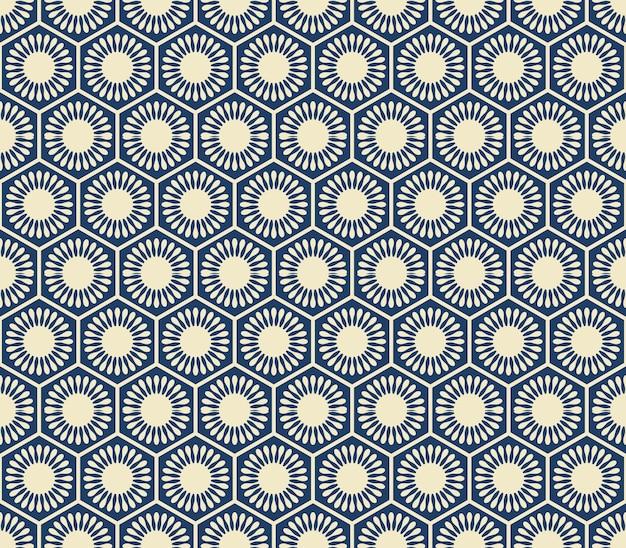 Marco de celda de geometría de flor redonda polígono azul marino de patrones sin fisuras