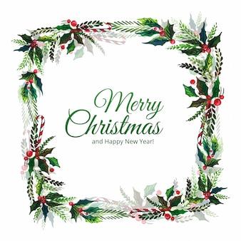 Marco de celebración de hoja decorativa de feliz navidad