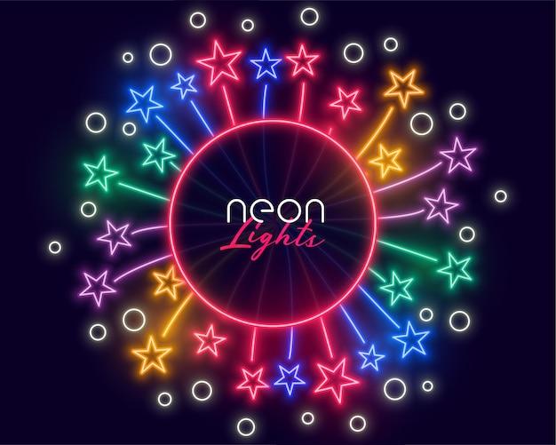 Marco de celebración de neón con estrellas estallando hacia afuera.