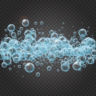 Marco de champú de burbujas de agua realistas