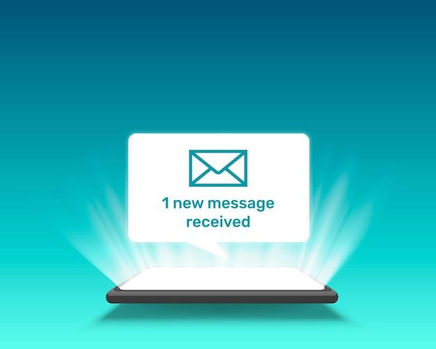 Marco de chat de mensaje de texto del teléfono, luz de pantalla móvil de tecnología.