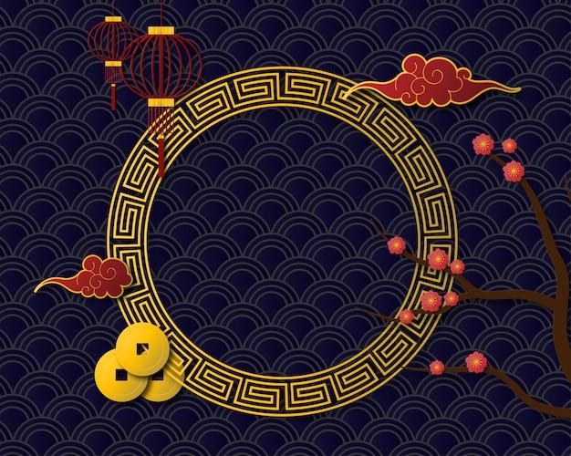 Marco chino para año nuevo en estilo de corte de papel