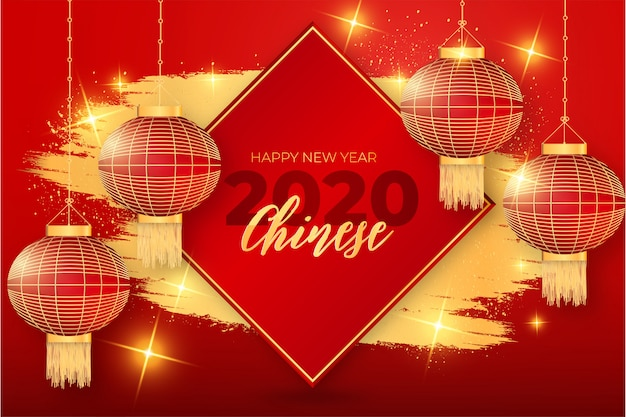 Marco chino feliz año nuevo moderno con golden splash