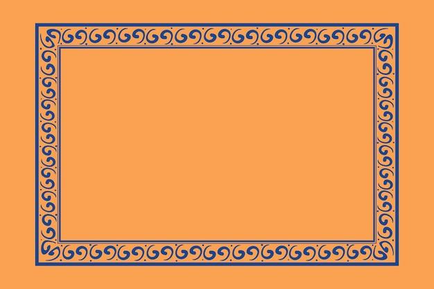Marco chino patrón oriental cuadrado azul en tema de año nuevo chino