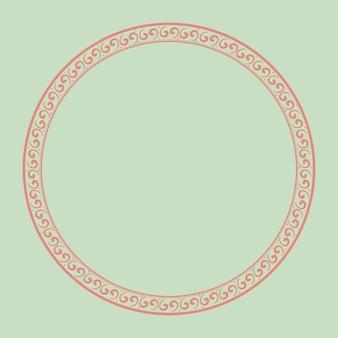 Marco chino vector patrón tradicional círculo rosa