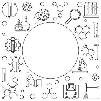 Marco de ciencia química con espacio vacío e iconos de contorno