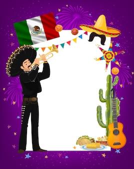 Marco del cinco de mayo con personaje de músico mexicano mariachi en sombrero y traje nacional tocando trompeta. tacos de comida latina, maíz y guacamole, cactus, guitarra. frontera de dibujos animados cinco de mayo