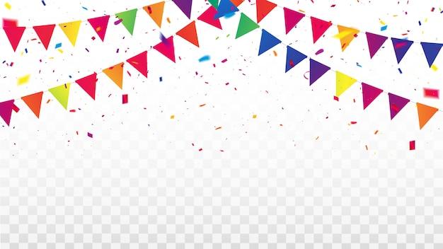 Marco de cintas de colores de confeti. tarjeta de felicitación de lujo rica.