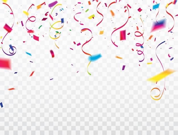 Marco de cintas de confeti de celebración.