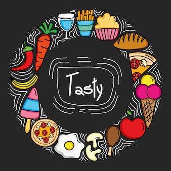Marco circular comida deliciosa